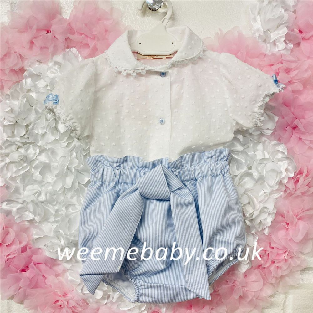 Cararmelo New Baby Girl Blouse and Blue Stripe Pants Set Big Bow